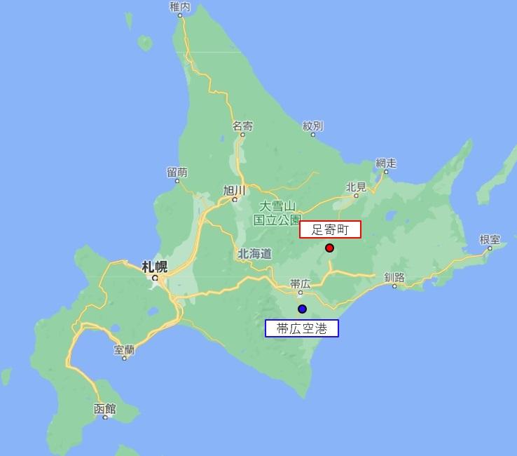 北海道の地図。帯広空港と足寄町。