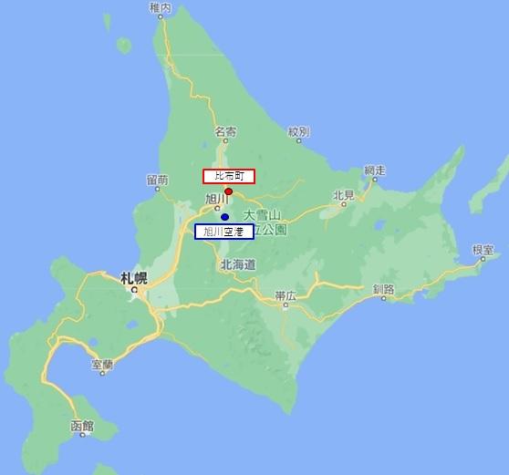 旭川空港、比布町地図