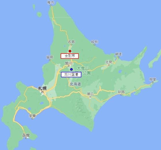 北海道士別市マップ
